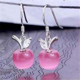Plata de ley rosa opal online-Oro blanco Stud Pendientes DHL Mujeres 925 pendientes de plata esterlina fina cuelgan ópalo Apple colgante con cristal suizo rosa blanco envío gratis