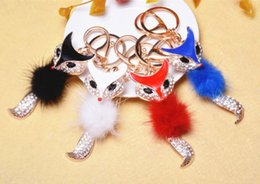 Wholesale brown pearl rings - Fox Fur Ball Keychain Car Key Chain Ring Fox Fur Ball With Artificial Fox Inlay Pearl Rhinestone Key Chain Cool Gifts Women C135L