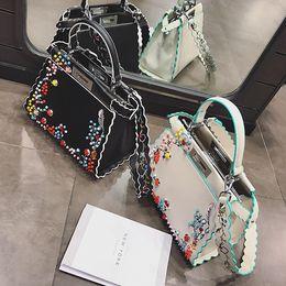 Wholesale Girl Small Mini Leather Bag - 2017 new fashion! High-end designer handbag rivet women bags PU leather shoulder bag luxury famous brand bags girls totes