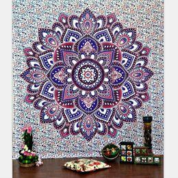 Wholesale Vintage Beach Towels - Tapestries 150*130cm Bohemian Mandala Beach Tapestry Home decoration Vintage Print Hippie Throw Yoga Mat Towel Indian Polyester Beach Shawl