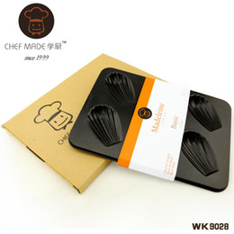 Wholesale Black Baking Cups - Wholesale- CHEFMADE Wk9028   6- Cup Shell-shaped Madeleine cake pan baking mold with Whitford non-stick coating   black