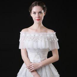 Wholesale Wedding Dresses Lace Coats - Bridal Wraps 2017 Wedding Jacket White Wedding Coat Wedding Bolero Shrug Jackets for Evening Dresses Boat Neck Off The Shoulder