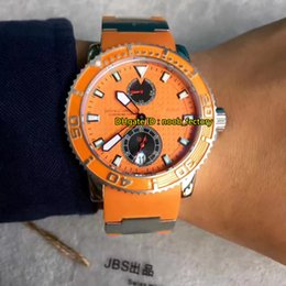 Wholesale Maxi Diver - New Luxury Brand High Quality Ulysse Maxi Marine Diver Automatic Men's Watch 263-33-3 97 Orange Dial Rubber Strap Gents Watches