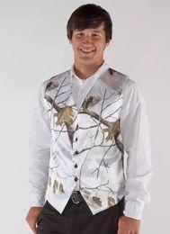 Wholesale Groom Suit Patterns - White Camo Men Vest Camouflage Mens Suit Vest Slim Groom Vests Realtree Camo Outerwear Spring Autumn Summer Wedding Vest Men(Waistcoat+Tie)