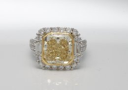 Wholesale Natural Diamond Ring White Gold - 6.86 ctw GIA Certified VVS2 Natural Fancy Yellow Diamond Ring 10.3g size 6.5
