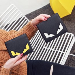 Wholesale Eye Holder - Fashion small wallet yellow white Two colors eyes pocket pu mini credit card bag purse Multiple colors are available