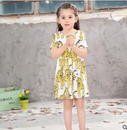 Wholesale Tiger Lines - Children dresses INS girls tiger printed short sleeve dress kids cartoon animal princess dress fashion kids summer clothes T0312