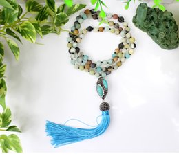 Wholesale Turquoise Blue Bead Necklace - Natural Blue Stone a mazonite beads necklace with oval turquoise pendant tassel