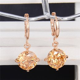 Wholesale Womens Black Jewelry - Fashion Gold Color Round Pretty Cubic Zirconia Womens Jewelry Attractive Dangle Earrings Many Colors Choose