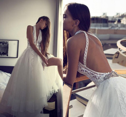 Wholesale Summer Soft Dress - Soft Tulle A Line Lace Wedding Dresses 2016 Halter Sexy Open Back bohemian Boho Wedding Bridal Gowns Layered Custom Made