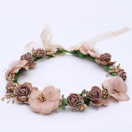 Wholesale Cherry Blossom Hair - 5pcs lot Flower Hairbands Cherry Blossoms PE Artificial Floral Hair Accessories Beach Headwear For Bride Wedding Headdress