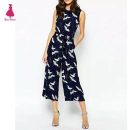 Wholesale Trendy Pants Jumpsuits - Wholesale- Sexy Flower Bird Crane Pattern O-Neck Sleeveless Slim Sashes Calf-Length Jumpsuit Pants Romper Overalls femme Blue Trendy Women