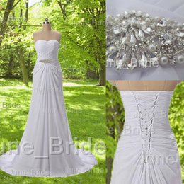 Wholesale Champagne Graden Wedding - High Quality Summer Beach Wedding Dress Vintage Graden Bridal Gowns Dresses with Crystal Perals Fitted Ruched Bodice Sweep Train Real Photos