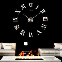 Wholesale Big Black Stickers - Large DIY wall Clock Modern Roman Numerals Wall Clock DIY Big Watch Decal 3D Stickers Fashion Art Acrylic mirror wall clocks