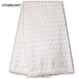 Wholesale Embroidery White Tulle Fabric - Wholesale Hot Tulle (5yards pc) latest design African cotton lace fabric pure white Swiss lace fabric with embroidery and stones C703AHL04