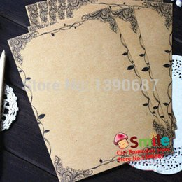 Wholesale Vintage Writing Set - Wholesale-8pcs set Creative Lace Stationery Writing Paper Vintage Flower Leaf Kraft Letter Paper Europe Style Paper Writing BK10111