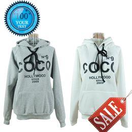 Wholesale Coco Letter - Wholesale- 2017 Women's Hoodies Printed COCO Sweatshirts Spring Autumn Winter Outerwear Parka Coats Moleton Feminino Women Pullovers S-XXXL