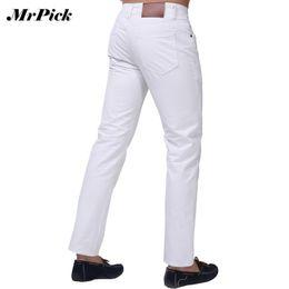 Wholesale Slim Light Blue Jeans Men - Wholesale-Jeans Men 2015 New Brand Fashion Solid Slim Fit White Blue Black Candy Colors Plus Size Mid Straight Denim Pants F1241