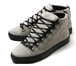 Wholesale Cheap Plus Size Flat Shoes - 2017 free shipping Cheap Sale Authentic Leather BA Mens Arena Flats men Sneakers high top Hot Brand New Sole Shoes Plus Size:38-47