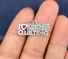 Wholesale Rhodium Plated Connector - 60pcs-Antique Silver Tone I Heart Quilting Charm Pendant 20x13mm Best Gifts For Lovely Connector DIY Jewelry Making