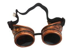 Wholesale Women Goth Fashion - Steampunk Antique Brass Silver Copper Black Cyber Goggles Colored Lens Welding Goth Cosplay Party Vintage Gothic Safety Goggles & Glasses