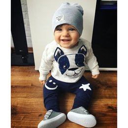 Wholesale Dog Baby Sets - Toddler kids outfits Baby girls boys long sleeve cartoon dog tops+smiling face five-pointed star pants 2pcs sets Infants clothes C2089