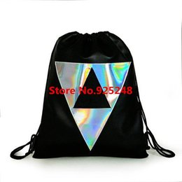 Wholesale Big Red Laser - Wholesale- 2015 Big Promotion All-match Laser Silver Holorgam Backpack School Student Drawstring Holographic Backpack Big Size Black Bag