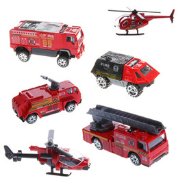 Wholesale Toy Police Cars Models - 6Pcs 1:87 Fire Engineering Aircraft Trucks Fire Police Car Kids Alloy Model Toys Hot