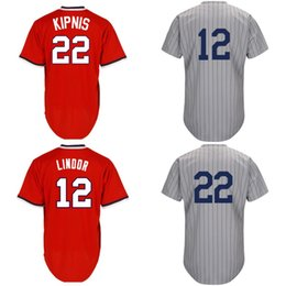 Wholesale 1917 Baseball - Mens Cheap Jerseys 1917 Turnback #12 Francisco Lindor 22 Jason Kipnis 1917 Throwback Grey Red Coolabse Free Shipping