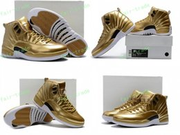Wholesale New Basketball Shoe Releases - 2017 High Quality Retro 12 Metallic Gold Men Basketball Shoes 12s Gold Sports Sneakers New Released With Shoes Box Eur Size 40-47
