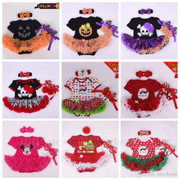 Wholesale Wholesale Christmas Outfits - Baby Halloween Romper Mickey Dress Shoes Headband Outfits Kids Pumpkins Walking Shoes Christmas Romper Skirts Chevron Dot Hairband Sets B704
