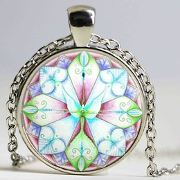 Wholesale Zen Jewelry Wholesale - Silver plated necklace mandala chakra pendant necklaces jewelry for OM to Zen cabochon pendants crystal vintage jewelry gifts