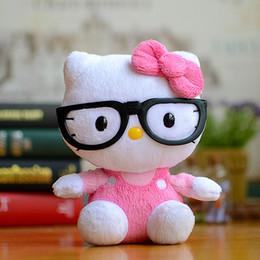 ciao bambola di peluche del gattino Sconti Wholesale- Rosa Ty Hello Kitty Kids Peluche Bambola Kawaii Bella indossare occhiali neri Gattino Gatto Simpatico cartone animato animali di peluche Regali di Natale