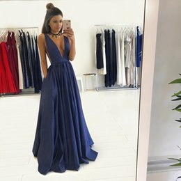 Wholesale Sexy Gorgeous Evening Dress Cheap - Gorgeous Long V-Neck Dark Navy Prom Dress with Pocket 2017 Sleeveless Backless Floor-Length Cheap Evening Gowns