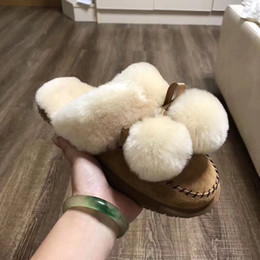 Wholesale Black Slide Heel Shoes - 2017 winter New style high quality Australia women real natural feather fur winter slippers slides women indoor outdoor flat shoes