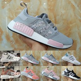 Wholesale Womens Training - Wholesale New Womens NMD R1 Sequins Triples Runner Primeknit Grey Pink Black White NMDS Running Shoes Training Sneaker Nmd Shoes For mens