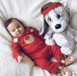 Wholesale New Fashion Baby Deers - INS Baby romper Little infant kids cute deer ear long sleeve romper unisex cartoon printed jumpsuits fashion new baby autumn clothing T4400