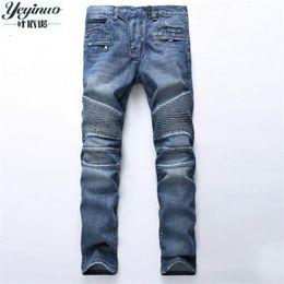 Wholesale Trousers Style For Men Jeans - Wholesale- European American Style 2017 Men's jeans slim denim trousers jeans fashion brand luxury Straight blue punk slim men jeans for
