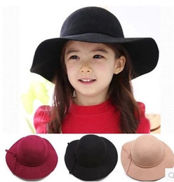 Wholesale Wholesale Blue Bows - Wool Baby Felt Hat Baby Bowknot Girls bows big Brim Floopy Cap Children Accessories Kid Fedoras Christmas Gift A0412
