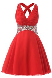 Wholesale Red Chiffon Evening - 2017 New Sexy Chinese Red Chiffon Sleeveless V Neck Criss Cross Straps Short Evening Prom Dresses with Zipper Crystal Stone Knee Length Gown