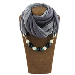 Wholesale pendant scarfs - 2017 New Voile Scarves Multi color beads Pendant Necklace Women Jewelry Linen Solid Color Collar Ethnic Choker Scarf wholesale Free Shipping
