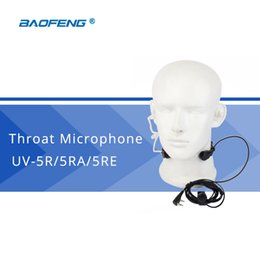 2019 micrófono de la garganta Al por mayor-Baofeng accesorios PTT garganta micrófono micrófono auricular para Baofeng UV-5R UV-5RE UV-82 Universal auriculares Walkie Talkie micrófono de la garganta baratos