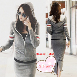 Wholesale Long Skirt Sport Suit - New Hot Selling Korean Women Fashion Sports Long Sleeve Gray Cotton Suits 2 Pieces (Hooded + Skirts )2850