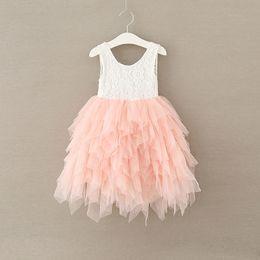 Wholesale Korean Style Wedding Clothes - Summer Girls Dresses floral gown for kid korean children clothing Lace Sleeveless tulle tutu dress beach wedding dresses C2119