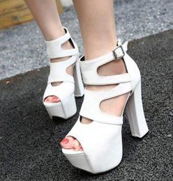 Wholesale ladies black strappy sandals - 14cm Sexy Lady Hollow Out Multi Strappy Peep Toe Super High Platform Thick Heels Sandals White Black Shoes