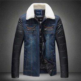 Wholesale Korea Men Pu Jacket - Wholesale- New Fashion Brand 2016 men's casual high quality PU sleeve jointed outwear male slim korea style denim jackets plus size M-5XL