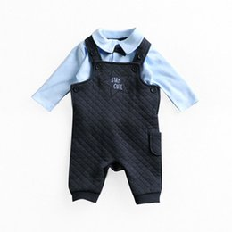Wholesale Child Tie Set - New Baby Clothing Sets Gentleman Bow Tie Cotton Suspender+Long Sleeve Tshirt Children Two Pieces Sets Kids Clothing