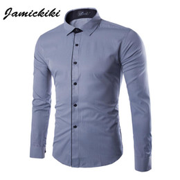 Wholesale High Class Dresses - Wholesale- 2016 New Business Dress Clothing High Quality Male Single Breasted Long Sleeve Shirts Latest Fashion Class Dress Shirts Homme