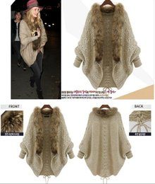 Wholesale Knit Jackets For Women - Vintage Womens Batwing Sleeve Cardigan Free Size Sweaters Fur Collar Wool Blend Jacket For Autumn & Winter