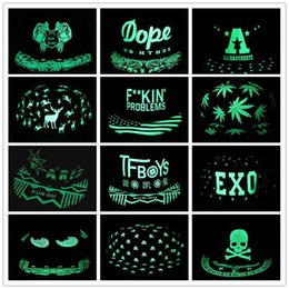 Wholesale Eyes Hat - Men Women Baseball Cap Hip Hop Glow Eyes Graffiti Maple Leaf Fluorescent Hat Hip-Pop Cap Hat Snapback Luminous Black Ball Caps Y#145